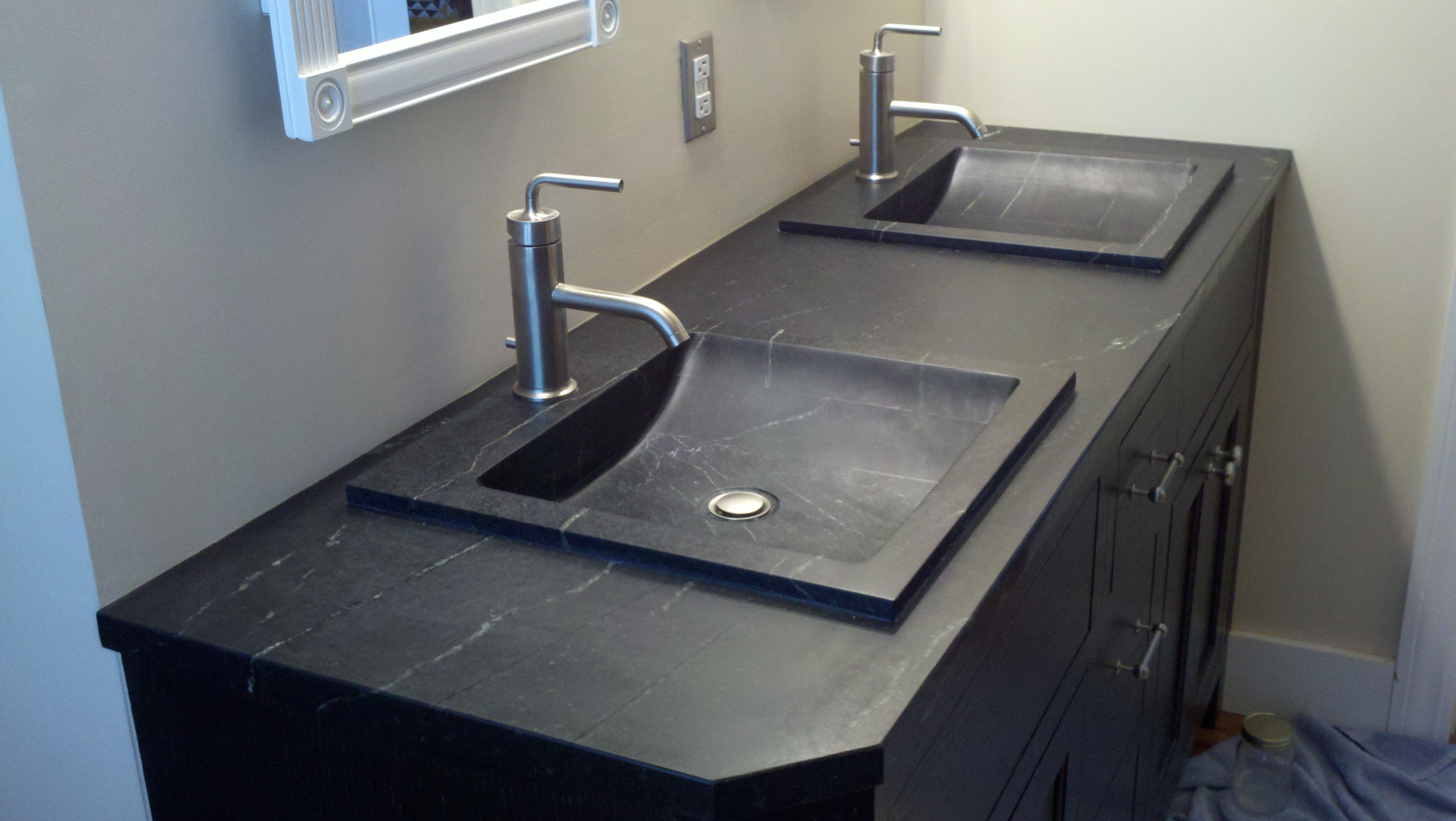 Drop in soapstone vanities industrial stone works for Bathroom countertop accessories